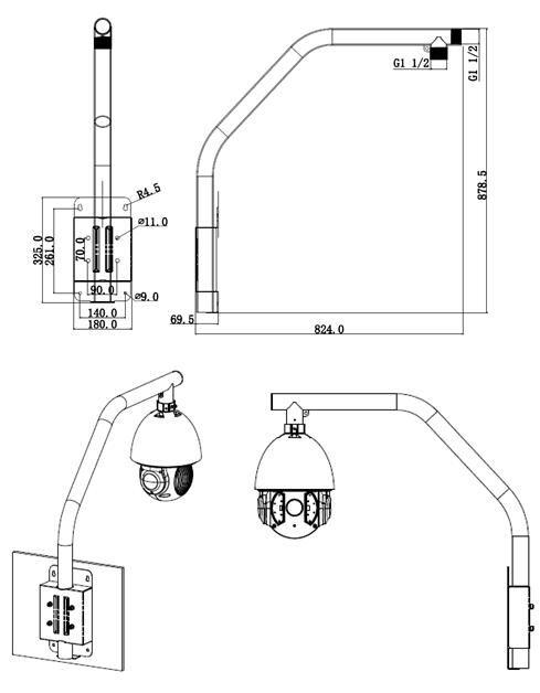 Dahua PFB303S Aluminum Wall-Mount Bracket for IP Dome and Fisheye ...